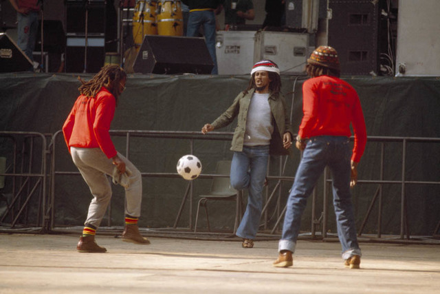 , 'Bob Marley and the Wailers play improvised soccer at the stadium in Brussels #1, during the Exodus Tour, Belgium,' 1977, Anastasia Photo