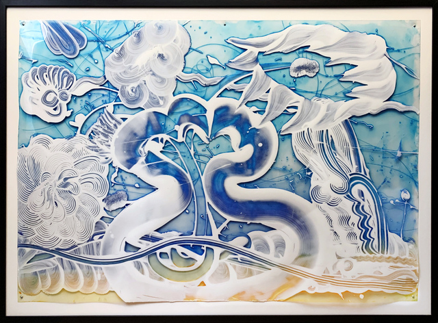 Catherine Howe, 'Reverse Mylar Painting (Bluebird)', 2019, Painting, Acrylic and intaglio ink on polyester sheeting, New York Academy of Art Benefit Auction