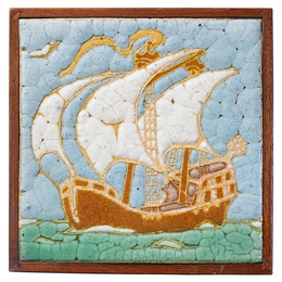 Tile decorated in cuerda seca with ship (framed), Boston, MA