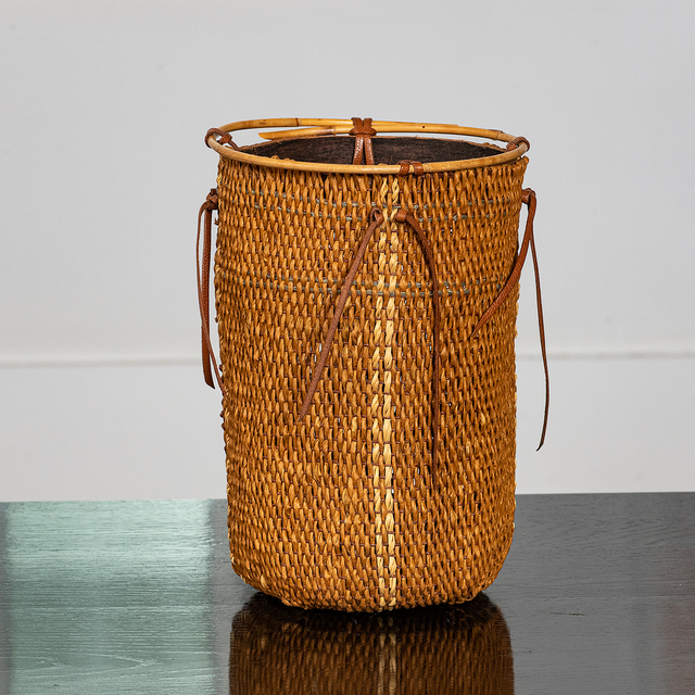 Marion Hildebrandt, 'Basket # 188/1', 2003, Design/Decorative Art, Waxed linen twine, paper fiber twine, hand twined reed, wooden and round reed, leather ties, browngrotta arts