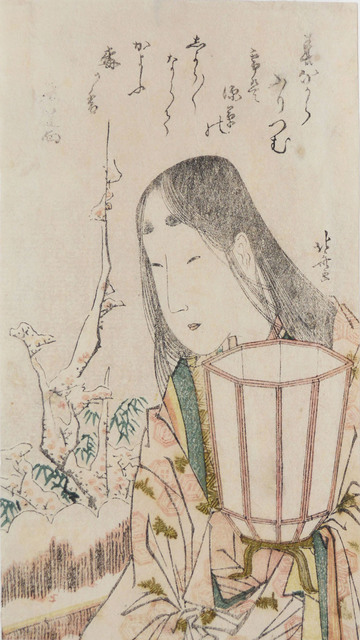 , 'Beauty with Lantern Looking at Plum Blossoms in Snow,' ca. 1804, Ronin Gallery
