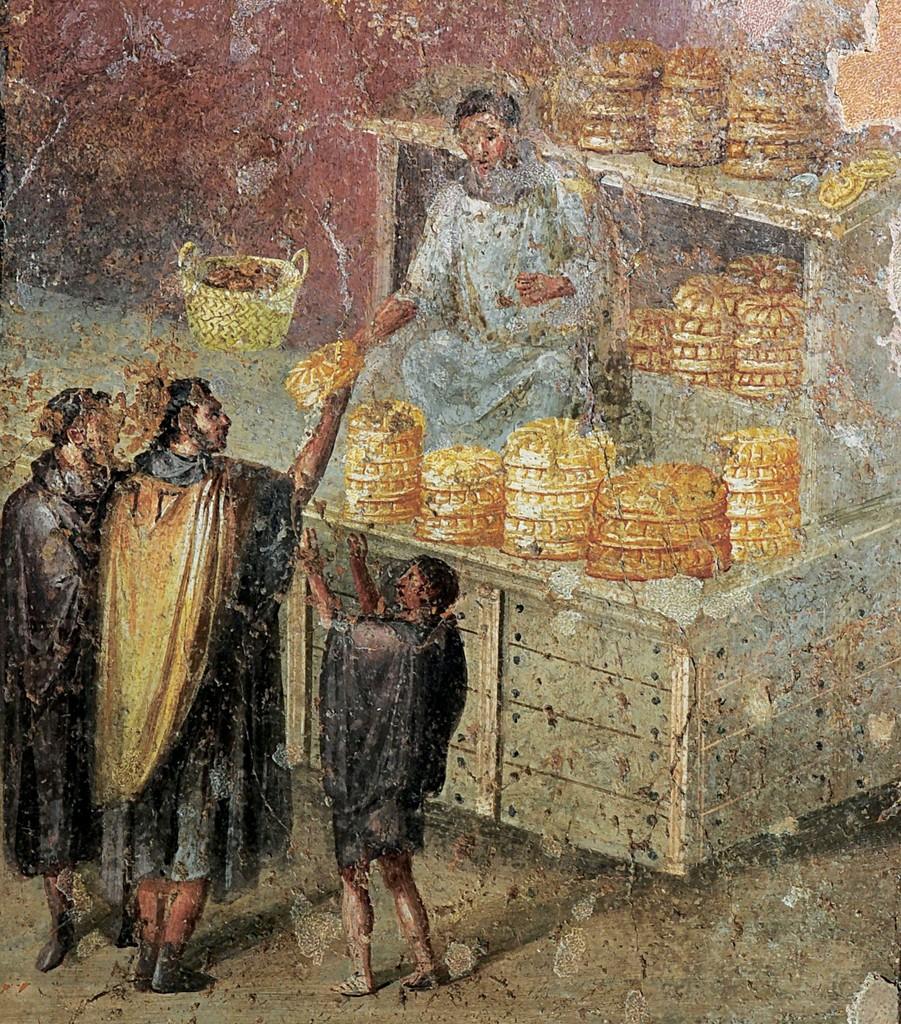 Результат изображения для (Бейкер, продающий хлеб Хлеба в Доме Бейкера из Помпеи.)