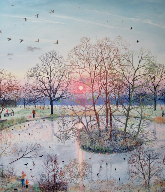 , 'Sunset over Frozen Pond,' 2017, Rebecca Hossack Art Gallery