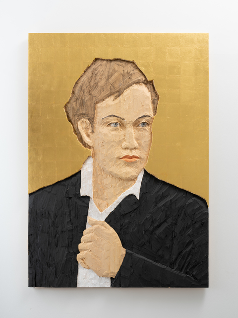 Stephan Balkenhol, 'Man with Black Suit in front of Golden Background ', 2016, Galerie Forsblom