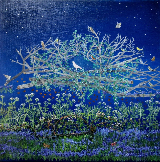 , 'White Dove and Bluebells,' 2017, Rebecca Hossack Art Gallery