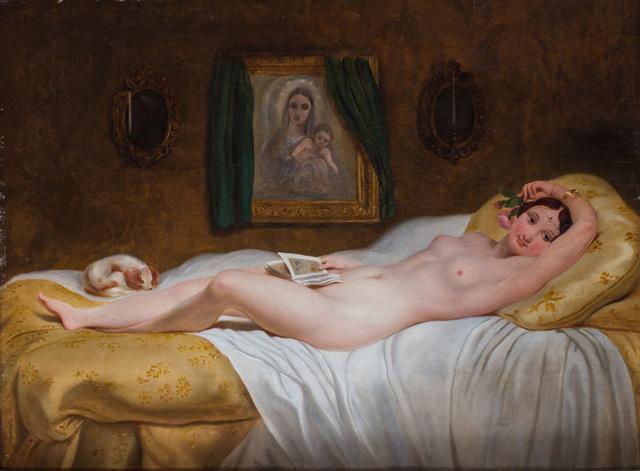 , 'A reclining beauty,' ca. 1868, Ottocento