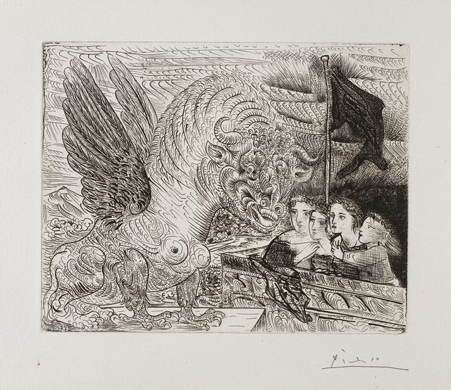 , 'Harpye à tête de Taureau, et quatre petites Filles sur une Tour surmontée d'un Drapeau noir,' 1931, Frederick Mulder