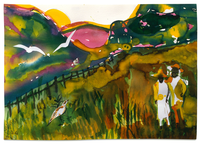 Romare Bearden, 'The Long Fence', 1986, Drawing, Collage or other Work on Paper, Watercolor and collage on paper, Alan Avery Art Company
