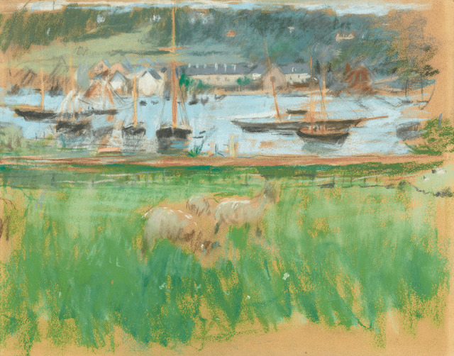 Berthe Morisot, 'Bassin de Port de Fécamp', ca. 1874, Drawing, Collage or other Work on Paper, Pastel on paper laid on board,  M.S. Rau