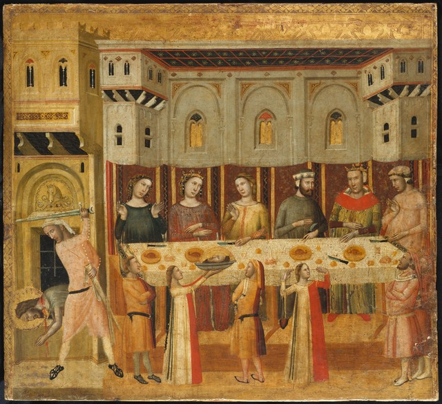 Giovanni Baronzio, 'The Feast of Herod and the Beheading of the Baptist', ca. 1330–1335, Painting, Tempera on wood, gold ground, and silver, The Metropolitan Museum of Art