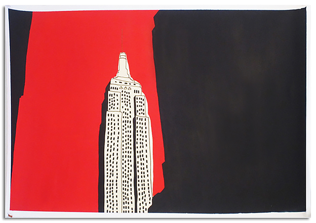 Marz Junior, 'NYC Empire State Building-Red Horizontal ', 2019, Painting, Acrylic & ink on paper, Wallspace