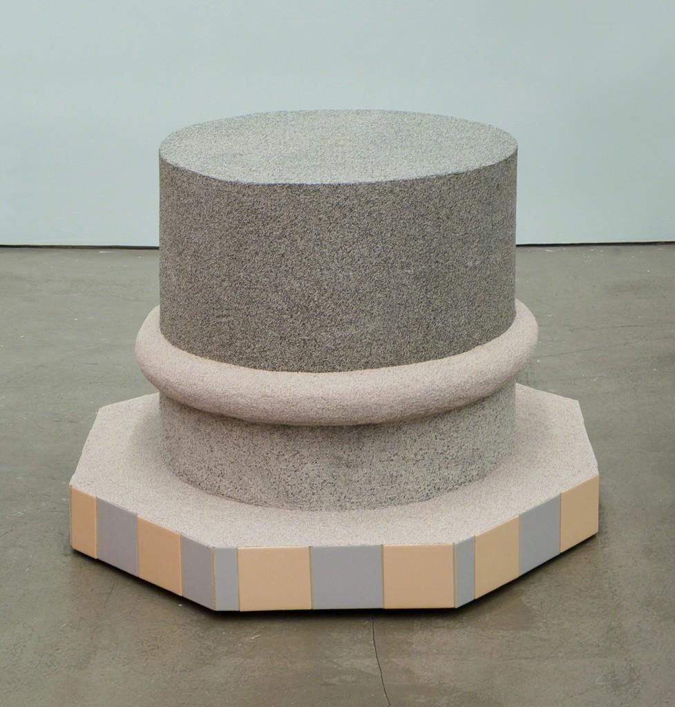 "Rachel Higgins, ""Island"", 2016  Construction barrel, wood, fiberglass cement, rubber, spraystone, cerastone, coroplast, tile 28"" x 30"" dia."