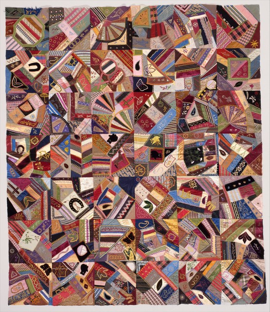 Unknown American, 'Quilt Top, Crazy pattern', ca. 1885, The Metropolitan Museum of Art