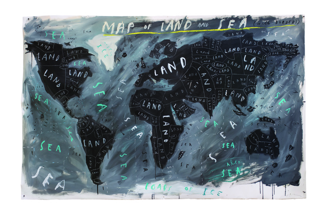 , 'Map of Land and Sea with Borders,' 2018, Lazinc