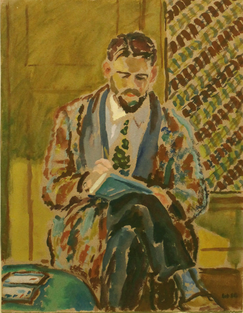 Harold Weston, 'Man Sketching', 1928, Drawing, Collage or other Work on Paper, Watercolor on paper, Gerald Peters Gallery