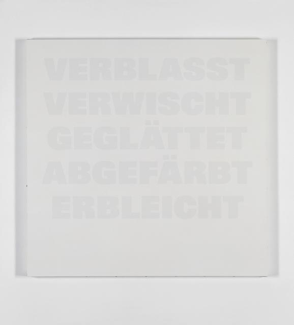 , 'Verblasst, Verwischt, Geglättet, Abgefärbt, Erbleicht,' 1986-1992, Galerie Isabella Czarnowska