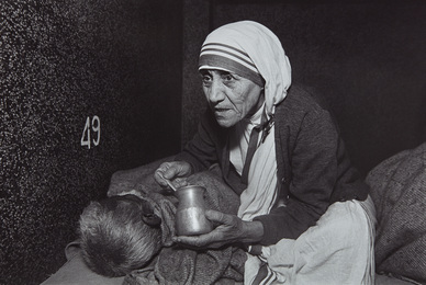 Mother Teresa Feeding a Man at the Home For the Dying, Calcutta, India
