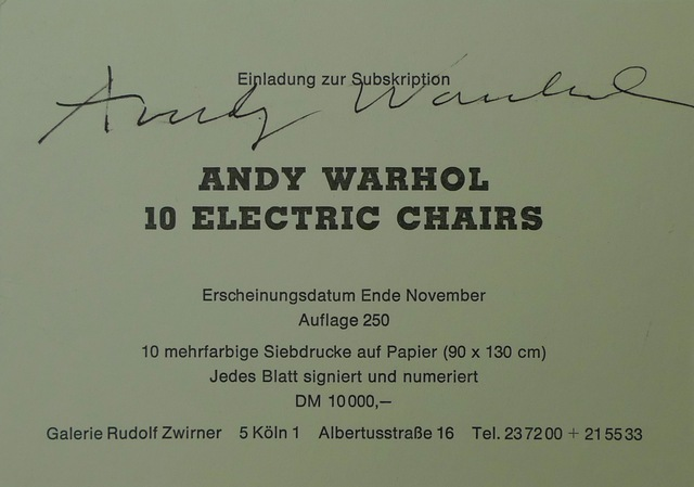 Andy Warhol, '10 Electric Chairs', 1971, Bengtsson Fine Art