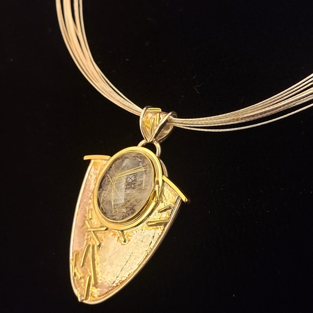 """Meghan Tippy Reese, 'Rutilated Quartz Pendant ', 2018, Jewelry, 18k and 14k gold, Sterling silver, rutilated Quartz  on 18"""" 10 Stand chain, Springfield Art Association"""