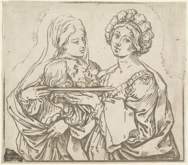 Bartolomeo Coriolano after Guido Reni, 'Herodias and Salome', 1631, Print, Working proof state of line block of chiaroscuro woodcut on laid paper, National Gallery of Art, Washington, D.C.