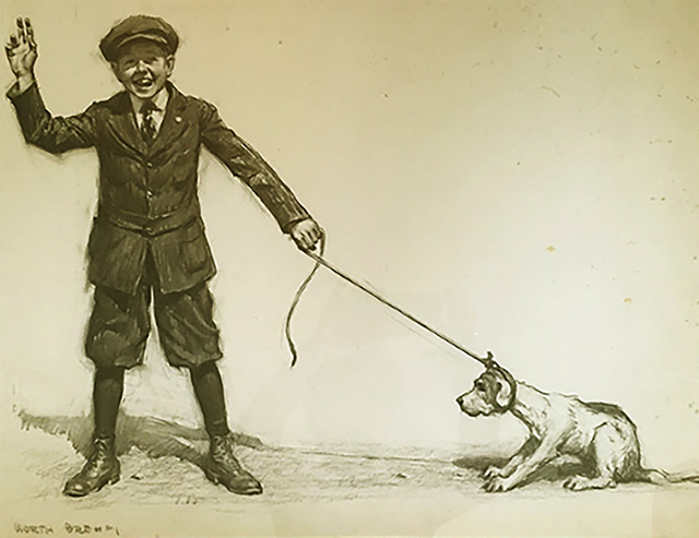 Worth Brehm, 'Sam pulling his new dog, Walter John', 20th Century, The Illustrated Gallery