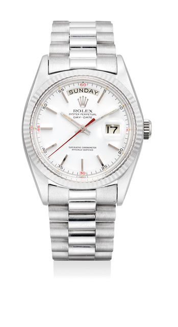 Rolex, 'An very fine white gold wristwatch with day, date, sweep center seconds, bracelet and fitted presentation box', 1970, Phillips