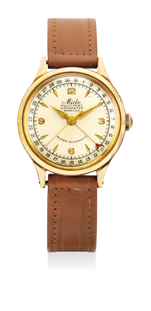 Mido, 'A fine yellow gold wristwatch with center seconds and date', Circa 1950s, Phillips