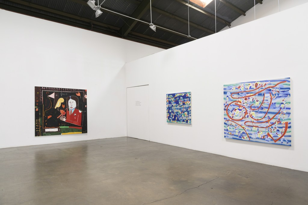 Installation View:  Group Show, featuring Trudy Benson, Farshad Farzankia, Benjamin Klein, and Jean Isamu Nagai at Richard Heller Gallery. Exhibition Dates: January 6 - February 10, 2018.   This image (left to right): Work by Farshad Farzankia and Trudy Benson.