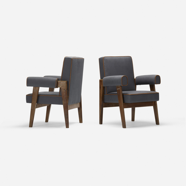 Le Corbusier, 'Pair of Bridge Armchairs from High Court, Chandigarh', c. 1955, Design/Decorative Art, Teak, upholstery, leather, Rago/Wright