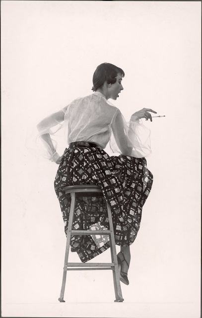 Gjon Mili, 'Model Dorian Leigh Wearing White Organdy Shirt with Full Print Skirt by Ceil Chapman (face seen in profile)', 1950, Contessa Gallery