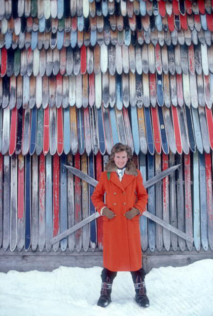 , 'Princess Ruspoli, 1979: Princess Lucy Ruspoli stands in front of a colorful wall of old skis in Lech am Arlberg, Austria,' 1979, Staley-Wise Gallery