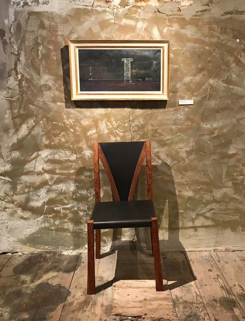 Angel of the South by Fred Cuming RA with Petter Southall's Lattice Chair in black oak-bark-tanned leather and brown oak