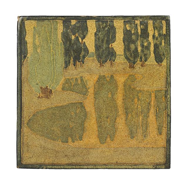 Marblehead Pottery, 'Marblehead Fine And Rare Scenic Tile, Marblehead, MA', ca. 1908, Rago/Wright