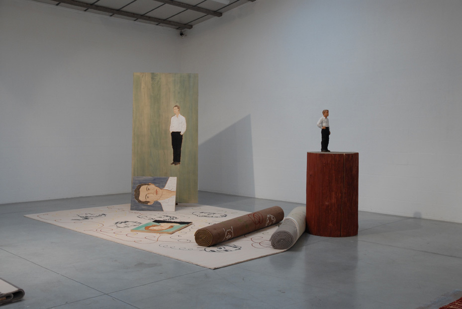 Art of the Loom, 2011 - Stephan Balkenhol, installation of carpets and sculptures