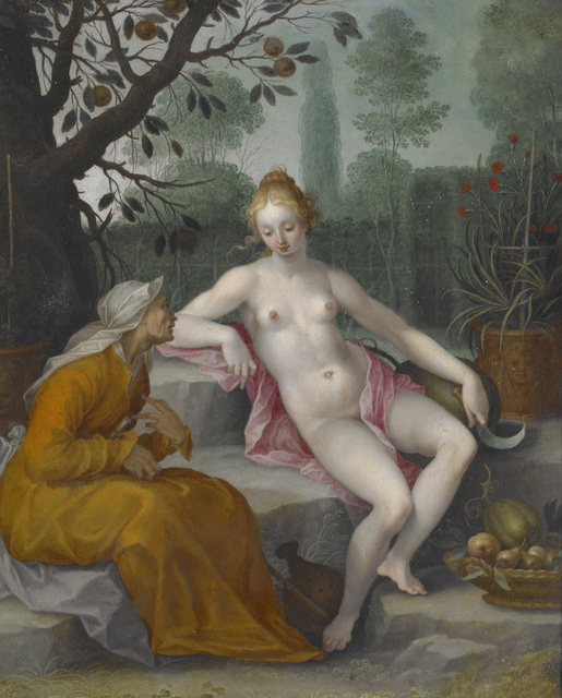 Abraham Bloemaert, 'Vertumnus and Pomona ', ca. 1605, Painting, Oil on copper, Indianapolis Museum of Art at Newfields