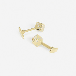 A pair of gold, platinum and diamond Dice cufflinks