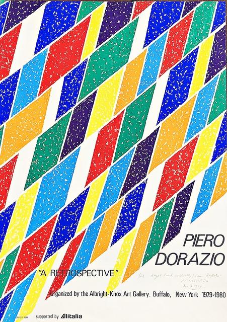 Piero Dorazio, 'Hand signed vintage silkscreen poster for Albright-Knox Art Gallery retrospective (inscribed to Emmerich gallery director)', 1979, Alpha 137 Gallery