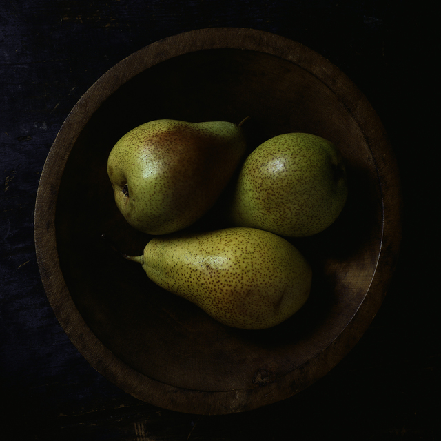 , 'Still Life with Three Pears and Wooden Bowl,' 2014, Pucker Gallery