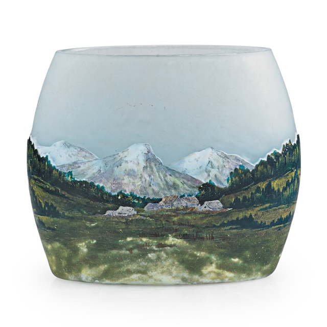 Daum, 'Small Pillow Vase With Alpine Landscape, France', Early 20th C., Rago/Wright