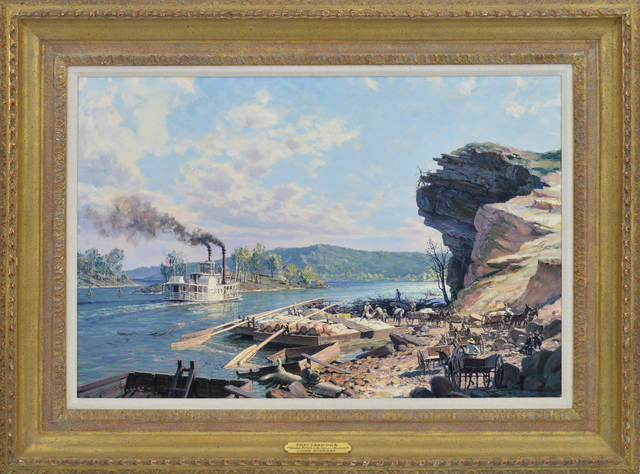 , 'Chattanooga, Unloading Flatboats on the Tennessee River in 1848 ,' 1992, Eisele Gallery of Fine Art