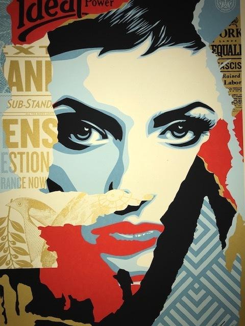 "Shepard Fairey, '""Ideal Power""', 2018, Print, Gold Metallic Inks, New Union Gallery"