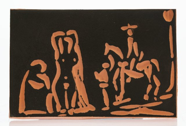 Pablo Picasso, 'Personnages et cavalier', 1968, Terracotta plaque with black engobe, Heritage Auctions