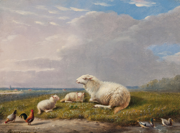 Ewe and Lambs in a Meadow