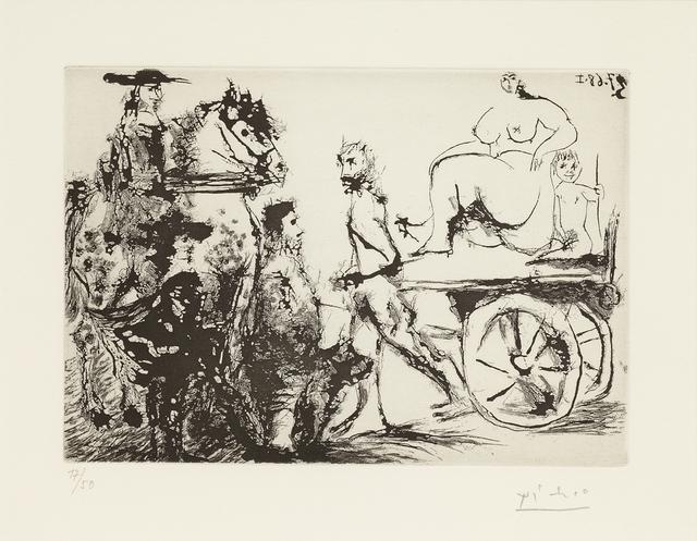Pablo Picasso, 'Don Quichotte, Sancho et un 'Mousquetaire' Regardant Passer  Dulcinée sur une Charrette Tirée Par un Homme Masqué, 3.7.68 I', 1968, Cristea Roberts Gallery