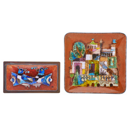 Small dish and box (Medieval Cityscape, Doves), USA