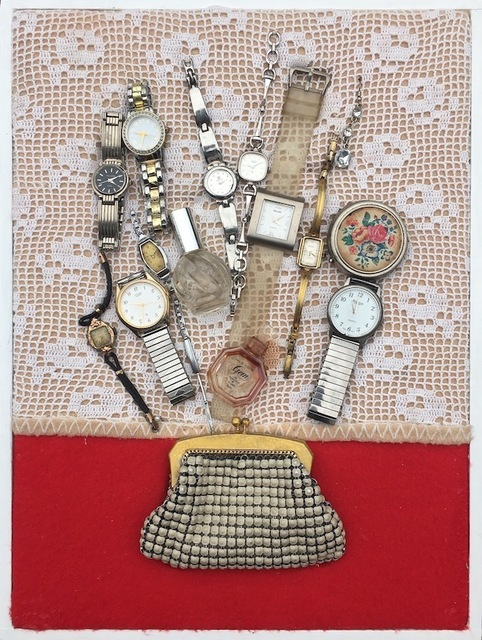 Susan O'Doherty, 'A Long Day', 2018, Installation, Watches, perfume bottles, pill container, glomesh purse, textiles, wood and paint, Art Atrium