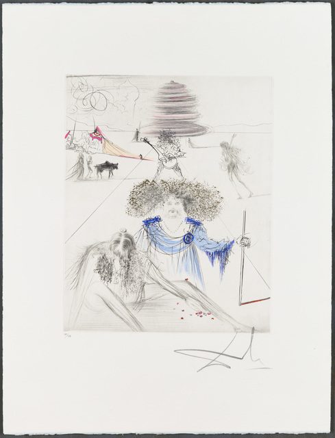 """Salvador Dalí, 'LE VIEIL HIPPY (The Old Hippy)', 1969-1970, Print, Original drypoint printed in colors on wove paper bearing the """"ARCHES FRANCE"""" watermark, with hand-coloring added., Christopher-Clark Fine Art"""