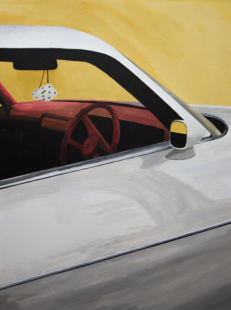 , 'Camaro on Fairfax, Acrylic on Canvas, Car, berry red velvet dashboard and wheel.,' 2018, Flat Space Art