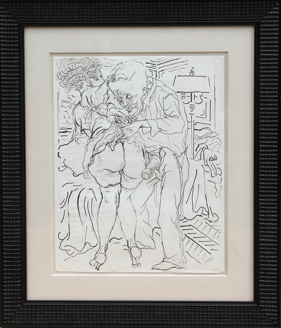 George Grosz, 'Untitled - man and Woman with Lamp (Erotic)', ca. 1940, RoGallery