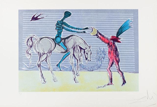 "Salvador Dalí, '""Don Quixote: The Gift of Mandrino"" Hand Signed Salvador Dali Lithograph', 1941-1957, Elena Bulatova Fine Art"